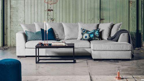 Canapea de colt cu sezlong Paso Doble Night textil Grey light, dreapta