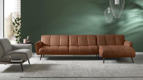 Canapea cu sezlong dreapta Talento textil Brezza Camel