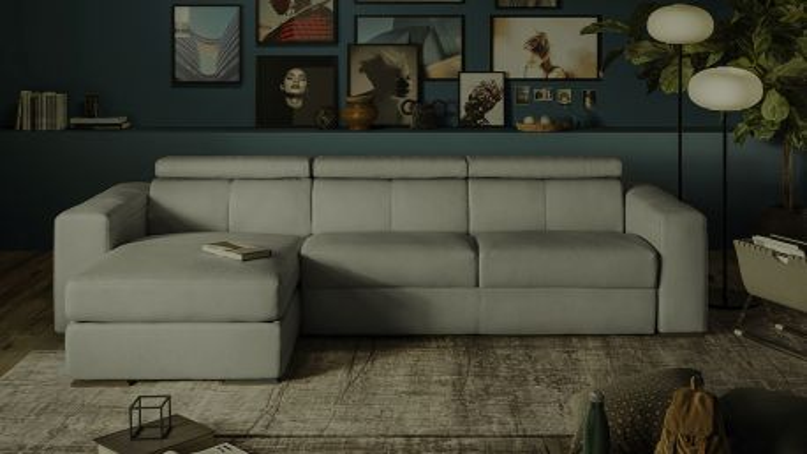 Canapea extensibila cu sezlong Piacevole 3 locuri Piele Denver Grey, stanga