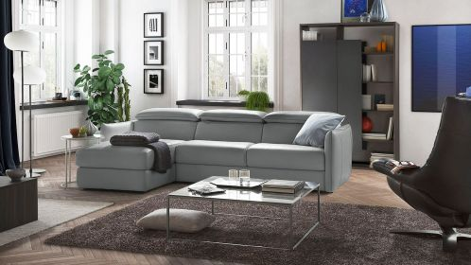 Canapea de colt extensibila cu sezlong Meraviglia Brezza Grey, stanga