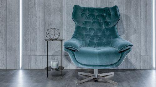 Fotoliu Darla textil Velvet Aquamarine
