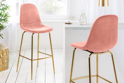 Scaun de bar Scandinavia Pink Velvet Gold