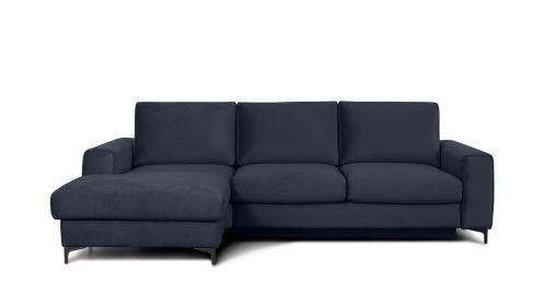 Canapea de colt extensibila Bella Piano Dark Blue S3, stanga