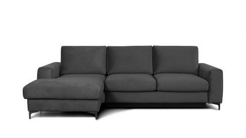 Canapea de colt extensibila Bella Piano Grey S3, stanga