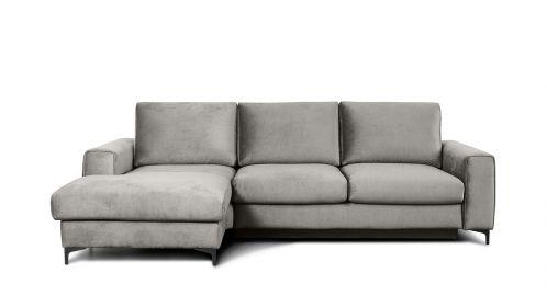 Canapea de colt extensibila Bella Kingston Light Grey S3, stanga