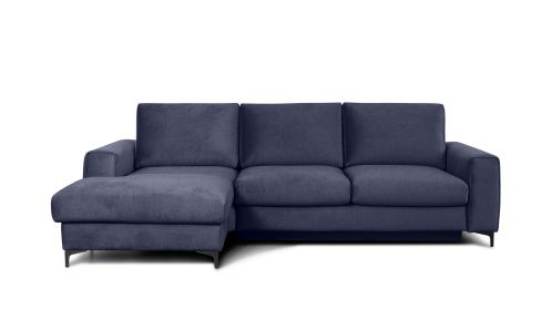 Canapea de colt extensibila Bella Kingston Denim Blue S3, stanga