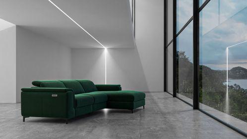 Canapea de colt cu recliner Aurora Velvet Dark Green, dreapta