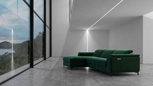 Canapea de colt cu recliner Aurora Velvet Dark Green, stanga