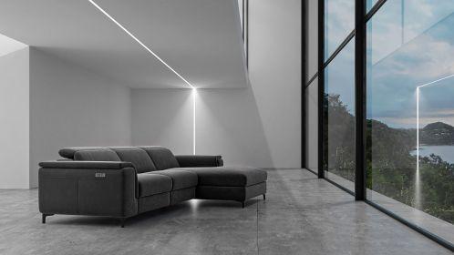 Canapea de colt cu recliner Aurora Velvet Grey, dreapta