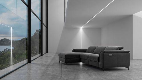 Canapea de colt cu recliner Aurora Velvet Grey, stanga