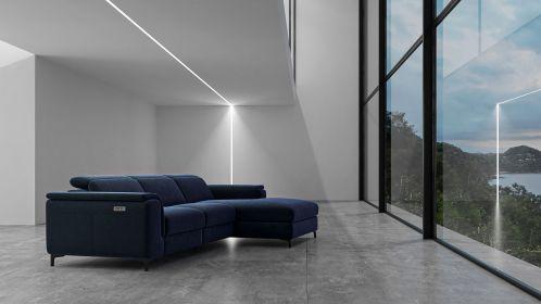 Canapea de colt cu recliner Aurora Velvet Navy Blue, dreapta