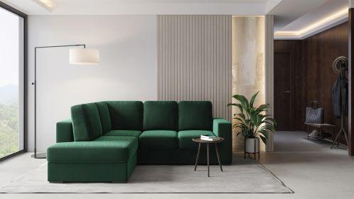 Canapea extensibila cu sezlong Laos Velvet Green, stanga