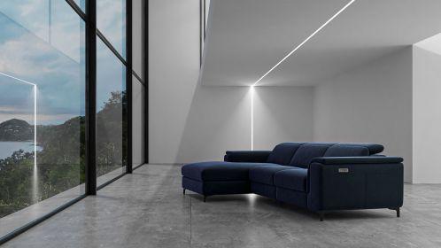 Canapea de colt cu recliner Aurora Velvet Navy Blue, stanga