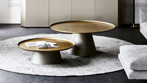 Masuta de cafea rotunda Amerigo Brass/Titanium 118 cm