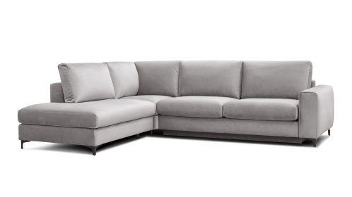 Canapea de colt extensibila Bella Salvador Light Grey S1, stanga