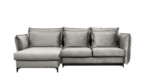 Canapea de colt extensibila Eva Kingston Light Grey S1, stanga