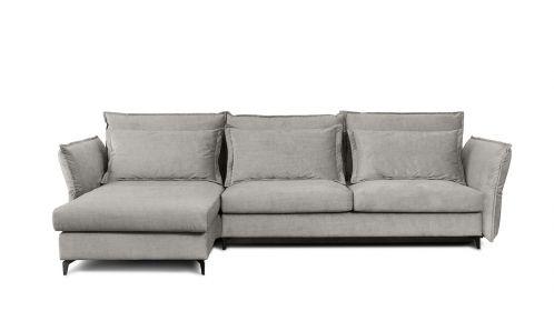 Canapea de colt extensibila Eva Kingston Light Grey S2, stanga