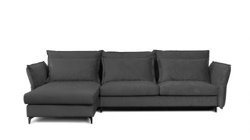 Canapea de colt extensibila Eva Piano Grey S2, stanga