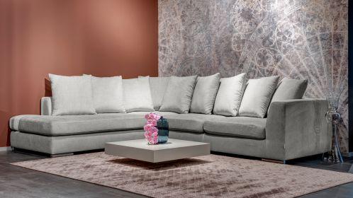 Canapea de colt Paso Doble Night textil Grey light, stanga