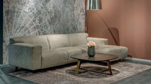Canapea de colt Vesta cu sezlong textil Light Beige,dreapta