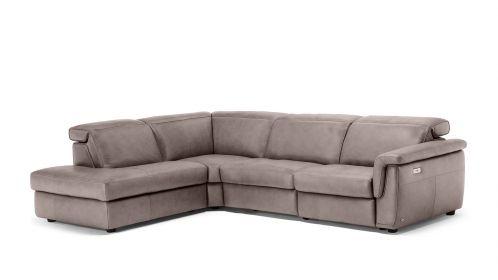 Canapea de colt Curioso cu recliner Brezza Greige, stanga