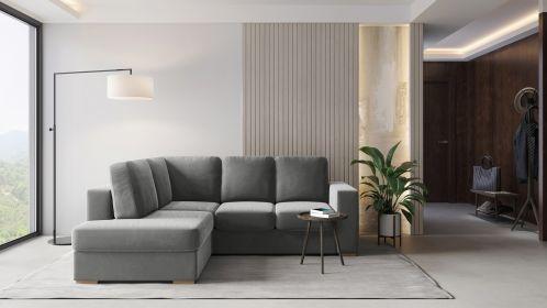 Canapea extensibila cu sezlong Laos Velvet Light Grey, stanga