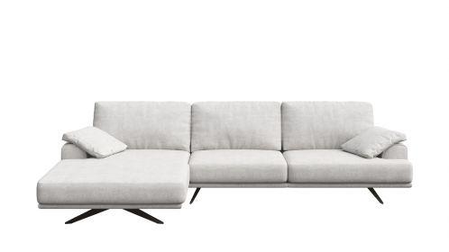 Canapea de colt cu sezlong Terni Italvelluti White, stanga