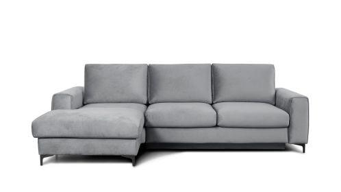 Canapea de colt extensibila Bella Piano Light Grey S3, stanga