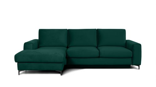 Canapea de colt extensibila Bella Monolith Dark Green S3, stanga
