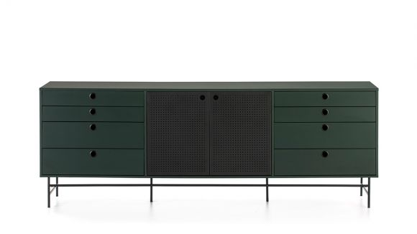 Comoda Punto Black/Dark Green 210 cm