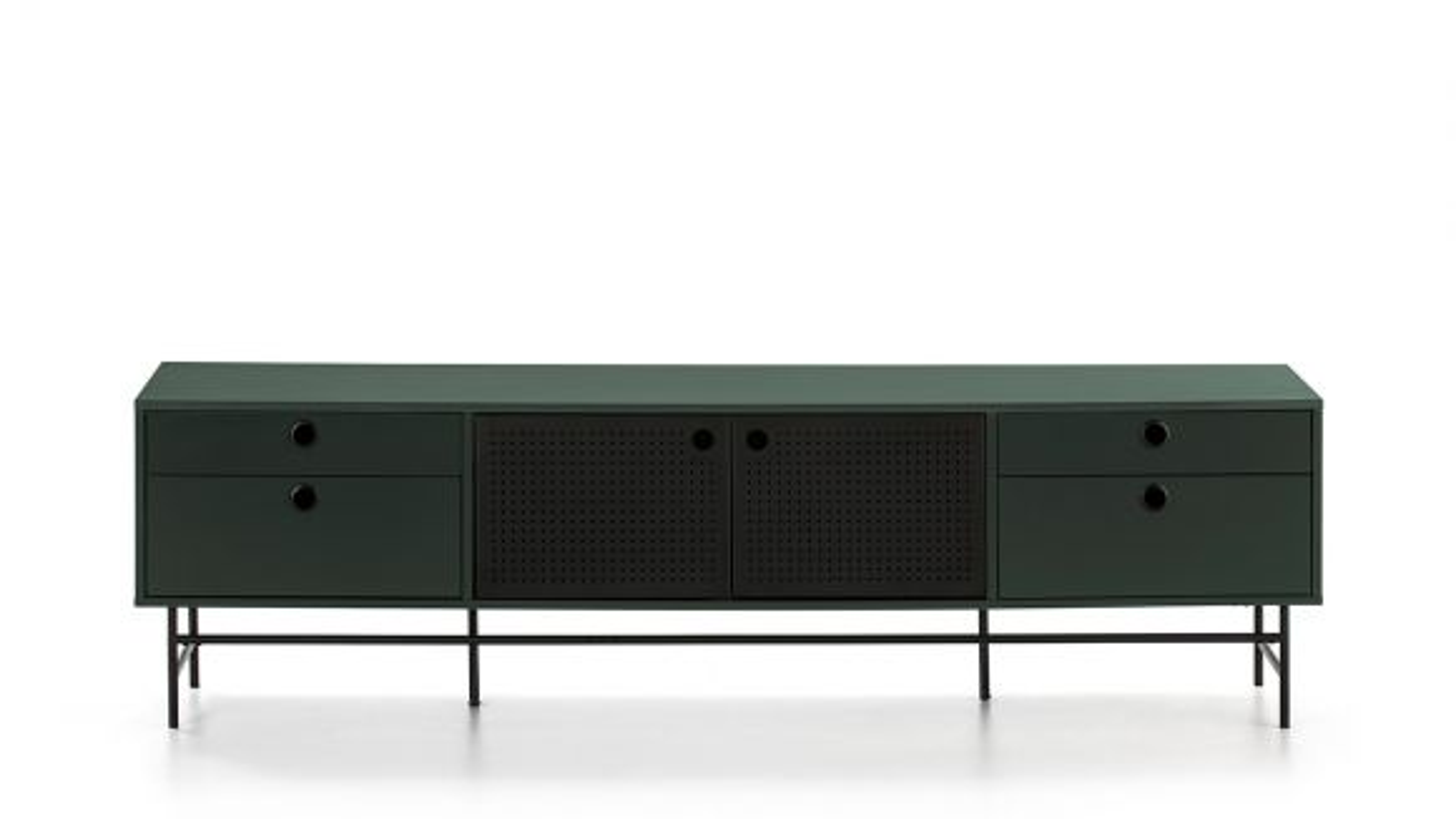 Comoda TV Punto Black/Dark Green 180 cm