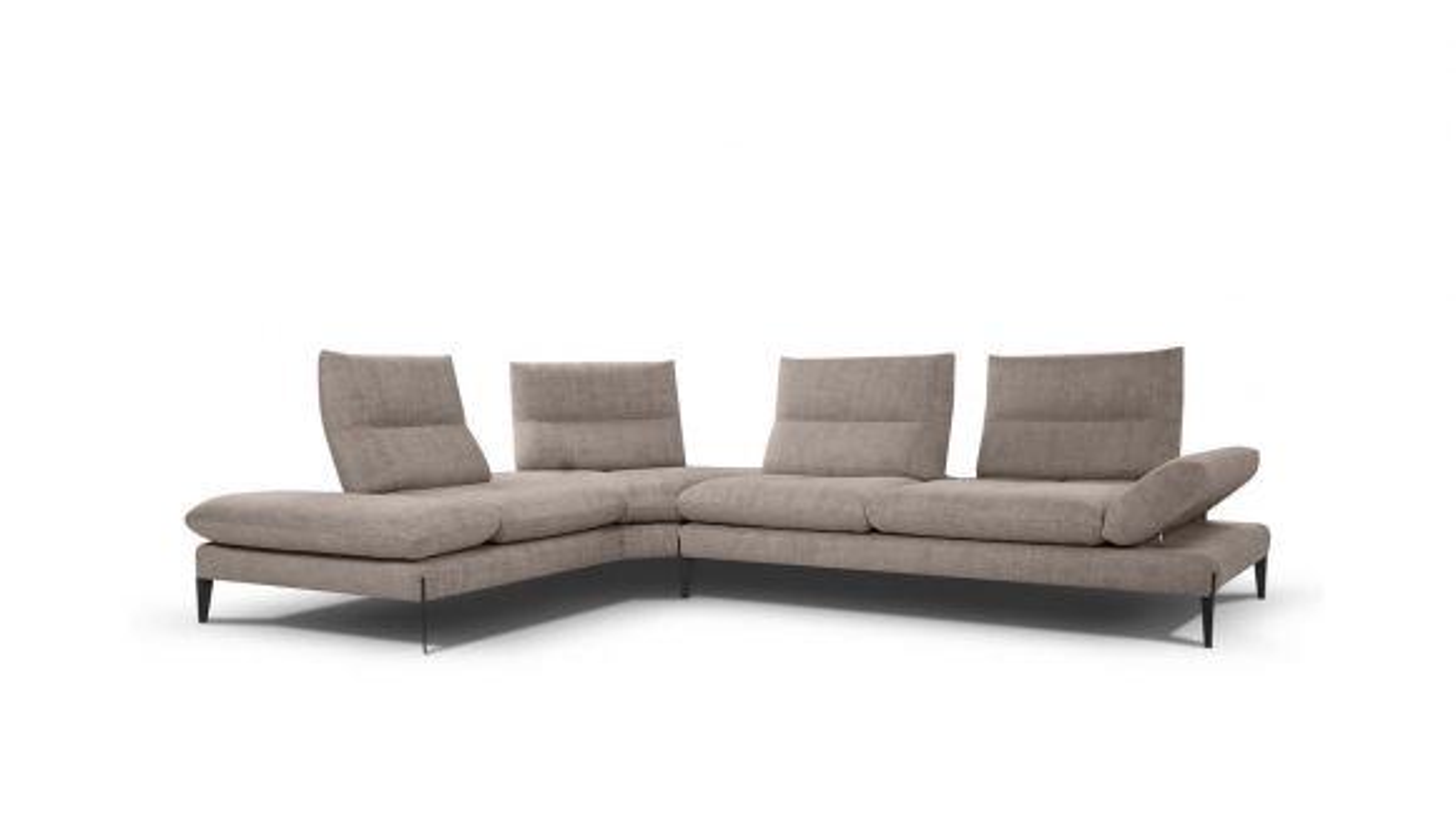 Canapea cu sezlong Monnalisa, textil tortora, stanga