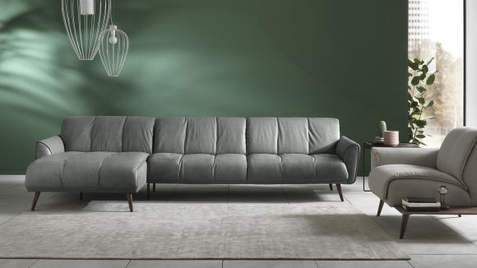 Canapea cu sezlong stanga Talento textil culoarea Dark Grey