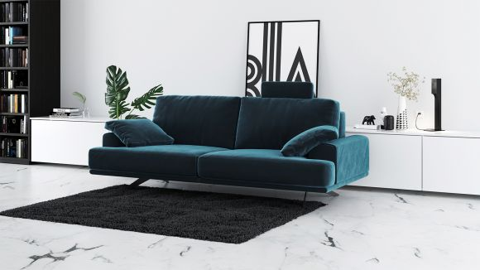 Canapea liniara 2 locuri Terni Dark Navy Blue