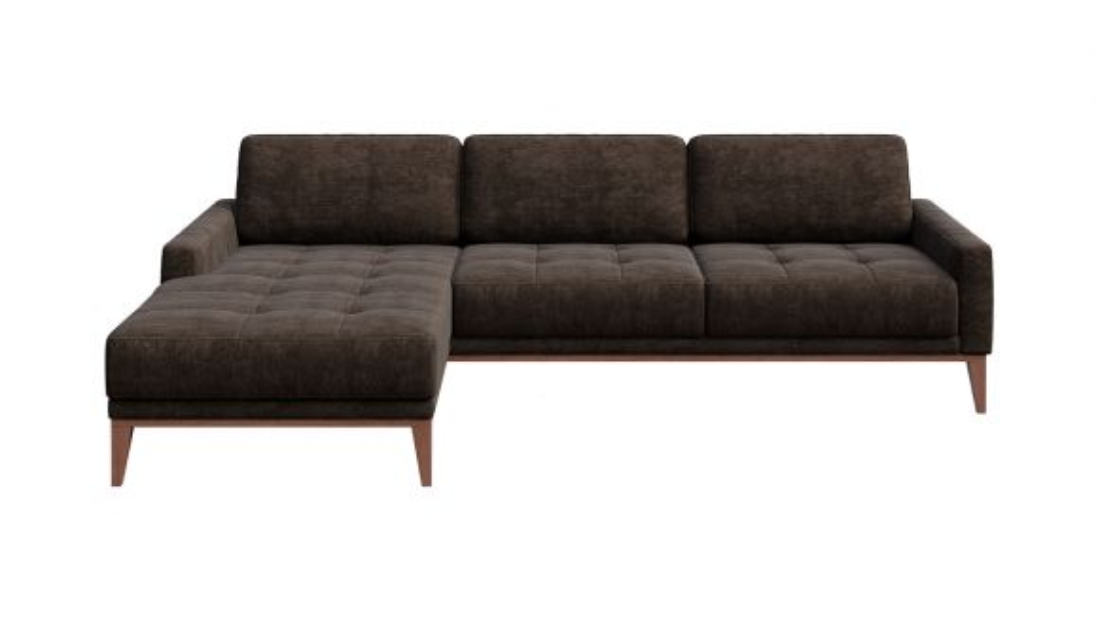 Canapea de colt cu sezlong Calini Italvelluti Button Dark Brown, stanga
