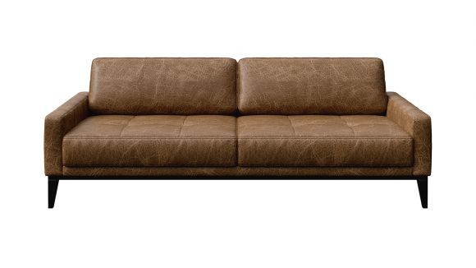 Canapea liniara 3 locuri Calini Button piele Cerato Brown Vintage