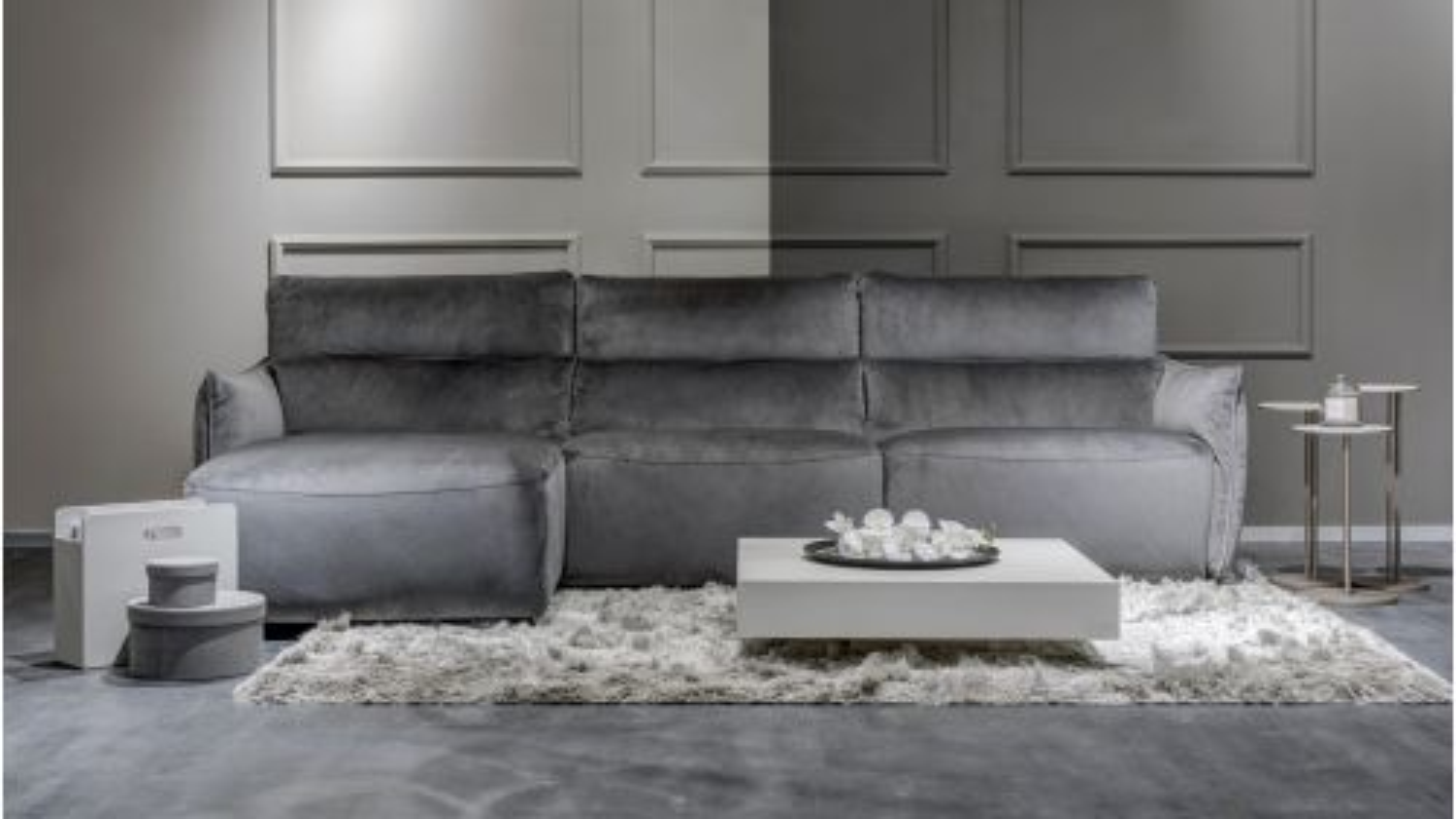 Canapea cu sezlong stanga Stupore textil culoarea Dark Grey