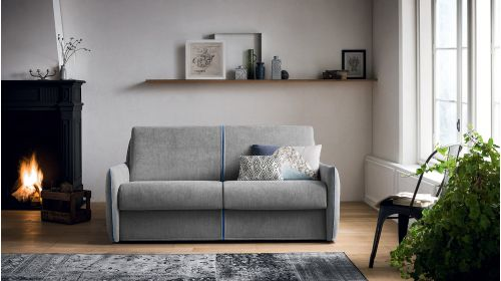 Canapea extensibila Amadeus 3 locuri textil Silver