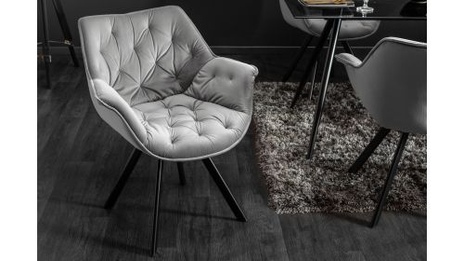 Scaun Dutch Comfort Buttons Grey Velvet