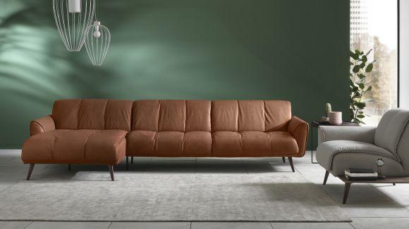 Canapea cu sezlong stanga Talento textil Brezza Camel