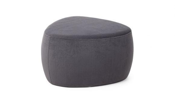 Pouf Stone Velvet Dark Grey