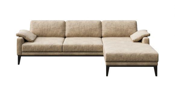Canapea de colt cu sezlong Calini Beige, dreapta