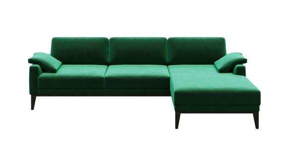 Canapea de colt cu sezlong Calini Velvet Green, dreapta