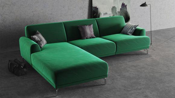 Canapea de colt cu sezlong Pavia Velvet Green, stanga