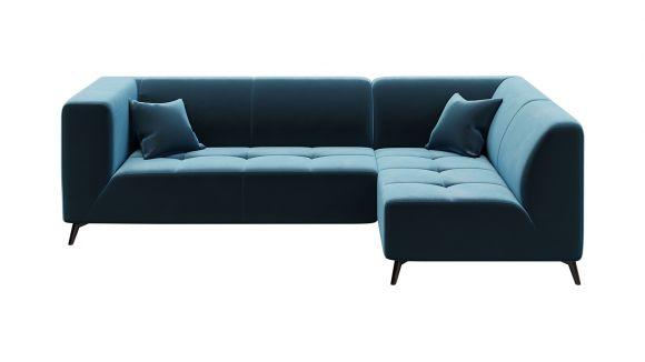 Canapea de colt cu sezlong Asti Velvet Dark Navy Blue, dreapta