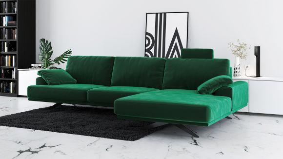 Canapea de colt cu sezlong Terni Velvet Green, dreapta