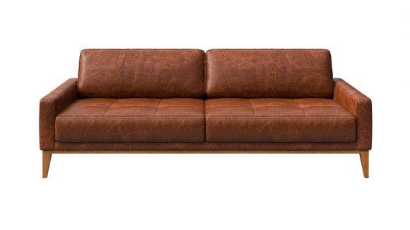 Canapea liniara 3 locuri Calini Button piele Cerato Cognac