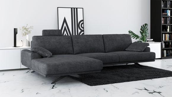 Canapea de colt cu sezlong Terni Italvelluti Dark Grey, stanga