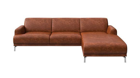 Canapea de colt cu sezlong Pavia piele Cerato Cognac, dreapta