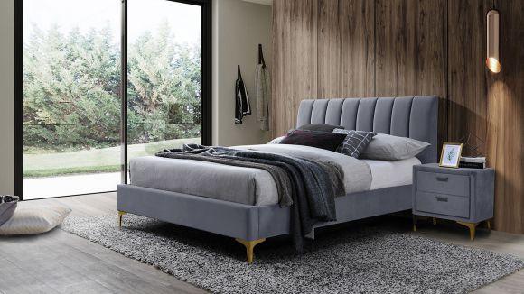 Pat Almond grey velvet 160x200